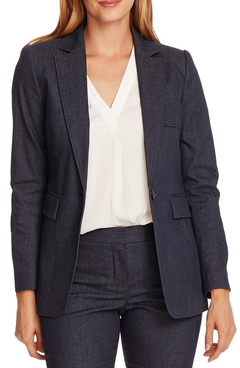 VINCE CAMUTO Pickstitch One-Button Cotton Blend Blazer, Main, color, NIGHT NAVY