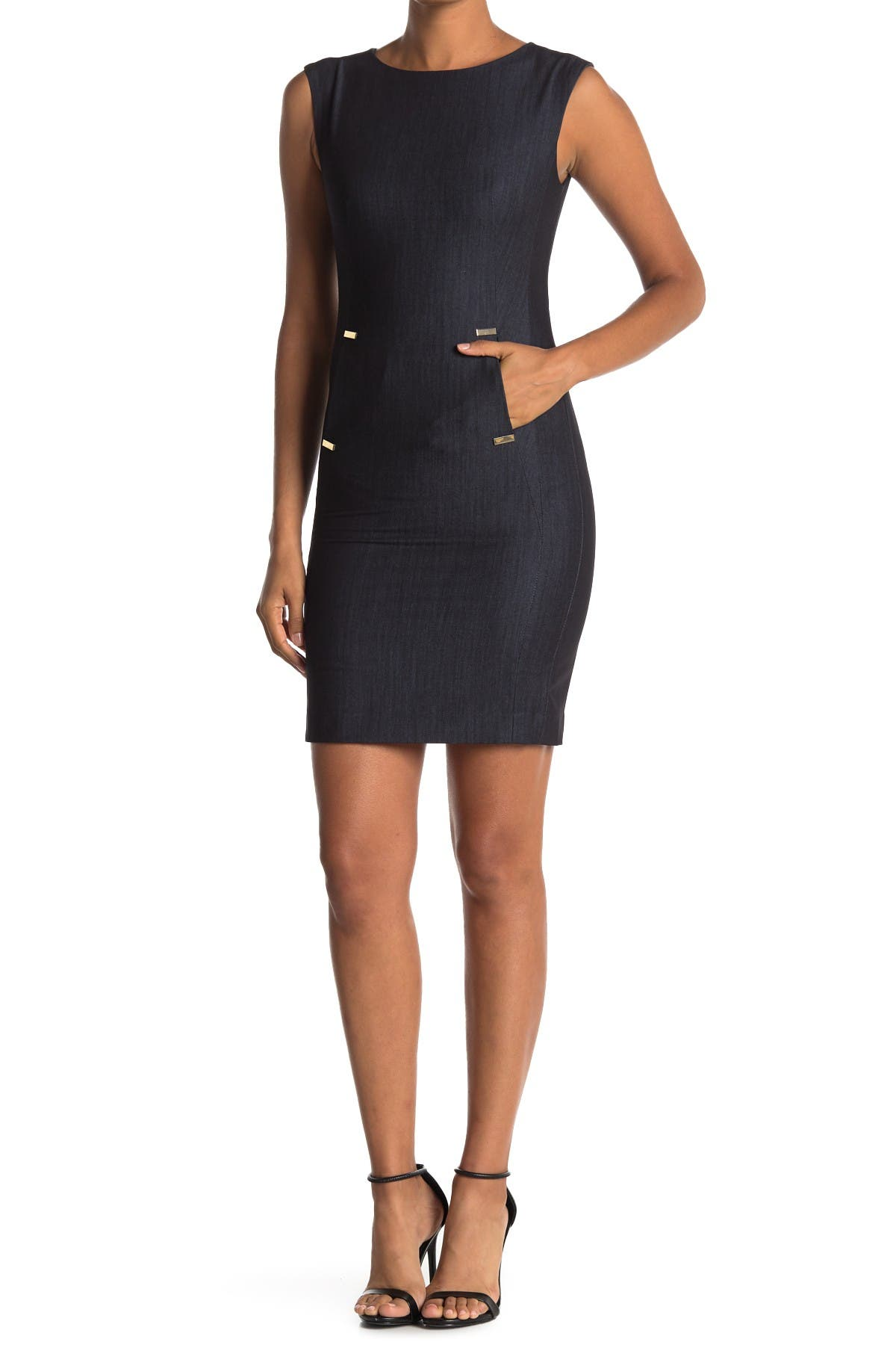 Image of Calvin Klein Denim Front Tab Pocket Sheath Dress