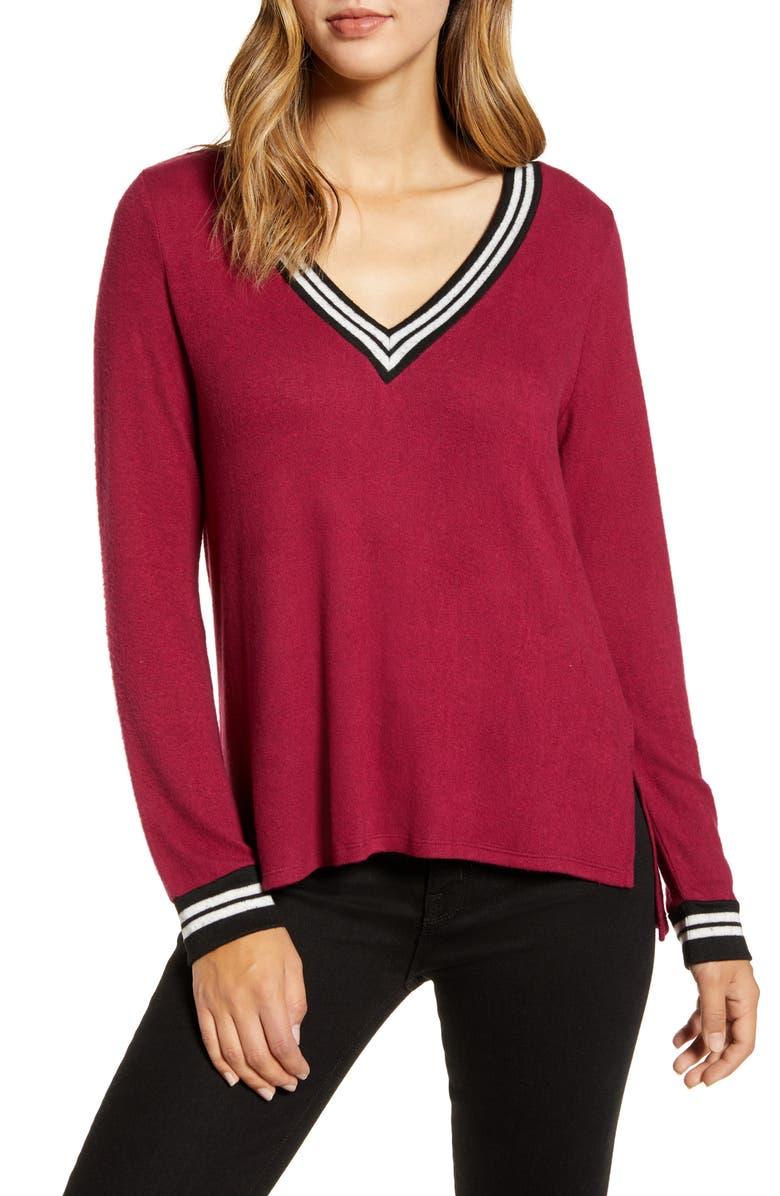 BOBEAU Varsity Cozy V-Neck Long Sleeve Top, Main, color, ZINFANDEL
