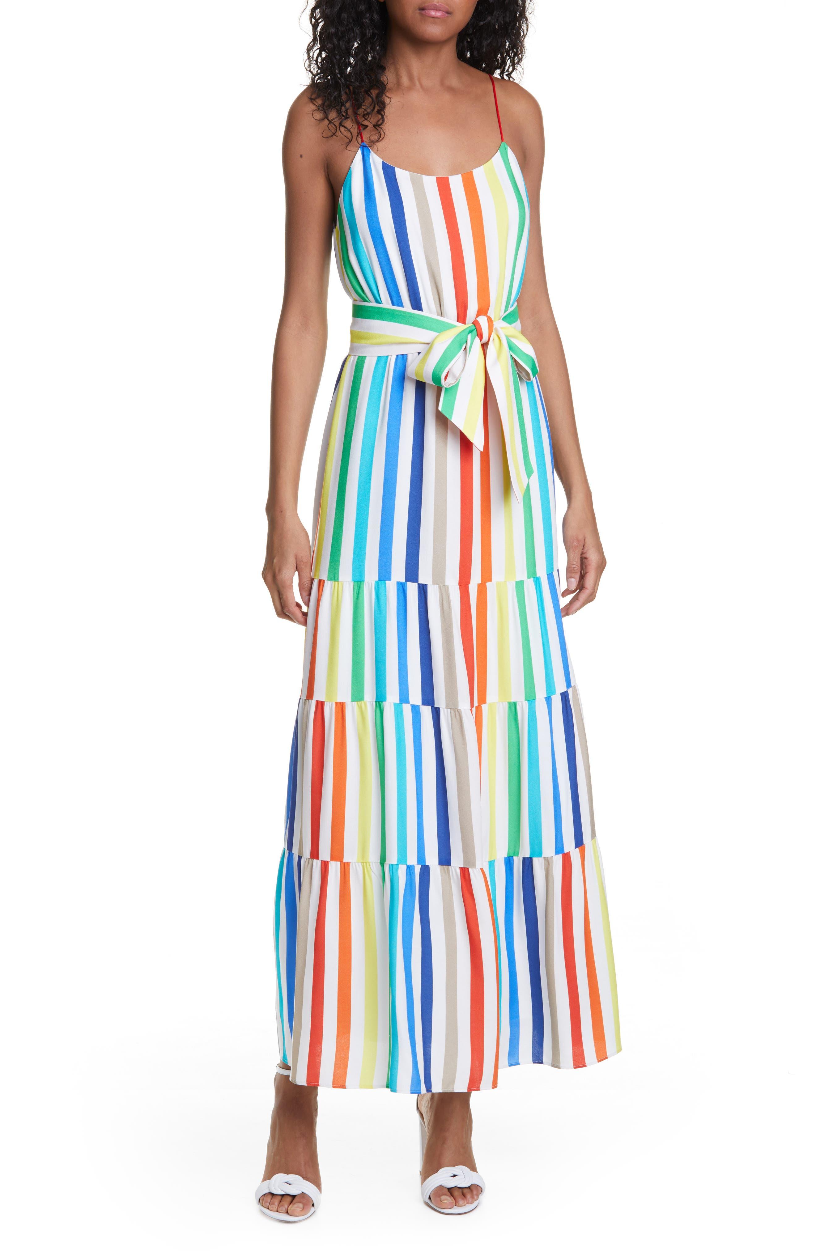 Alice + Olivia Janan Rainbow Stripe Tiered Sundress