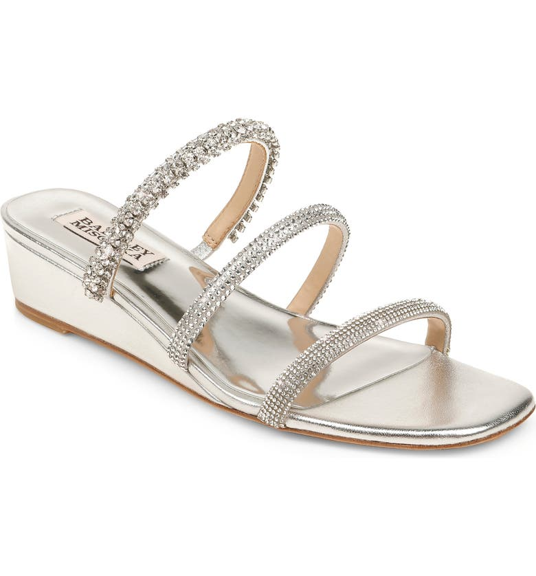 BADGLEY MISCHKA COLLECTION Badgley Mischka Zofia Strappy Wedge Slide Sandal, Main, color, SILVER NAPPA LEATHER