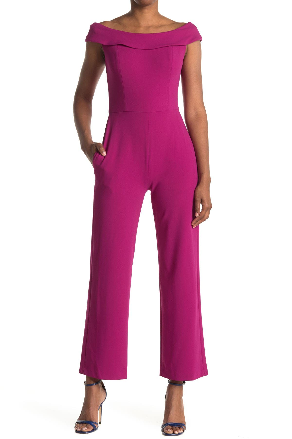 Image of Maggy London Cocktail Scoop Neck Wide Leg Jumpsuit