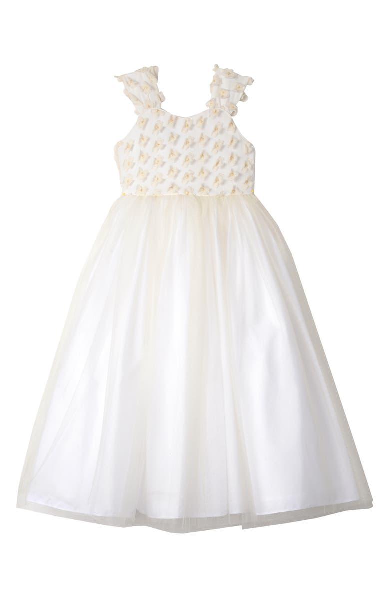 BADGLEY MISCHKA COLLECTION Badgley Mischka 3D Flower Tulle Dress, Main, color, IVORY