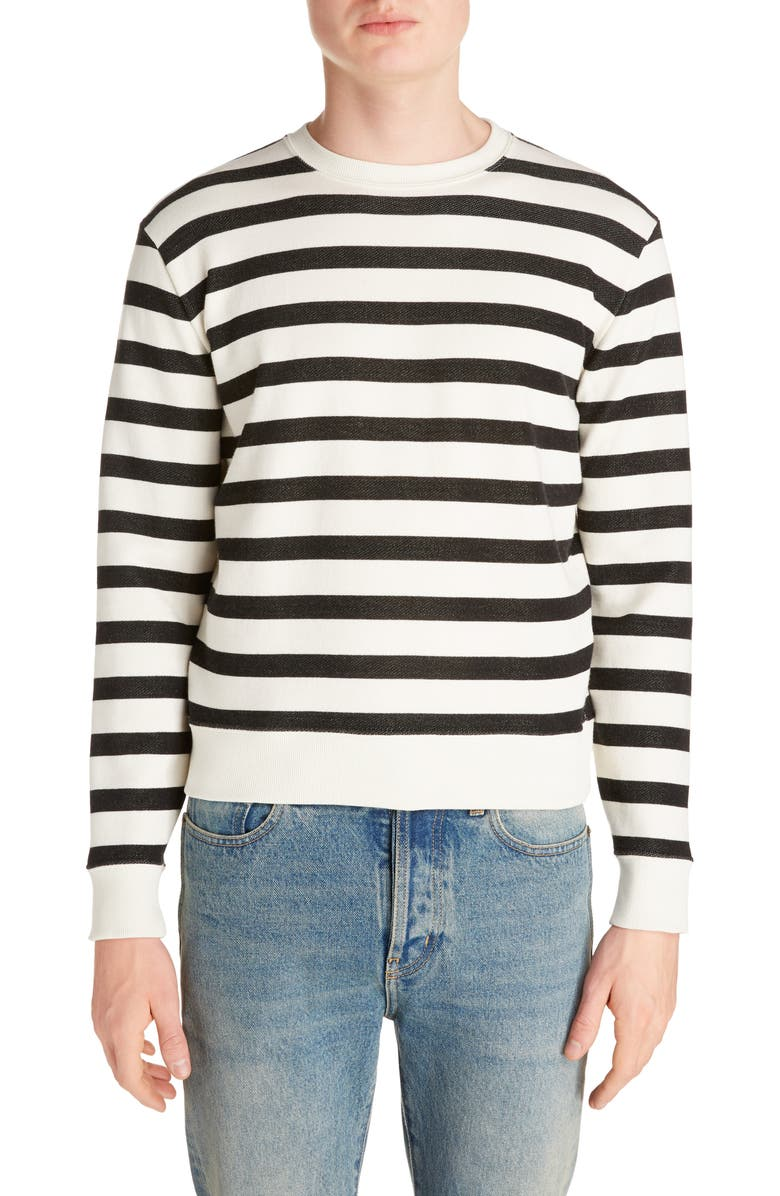 SAINT LAURENT Stripe Crewneck Sweatshirt, Main, color, IVORY