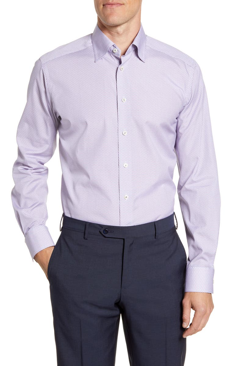 ETON Contemporary Fit Pattern Dress Shirt, Main, color, PINK