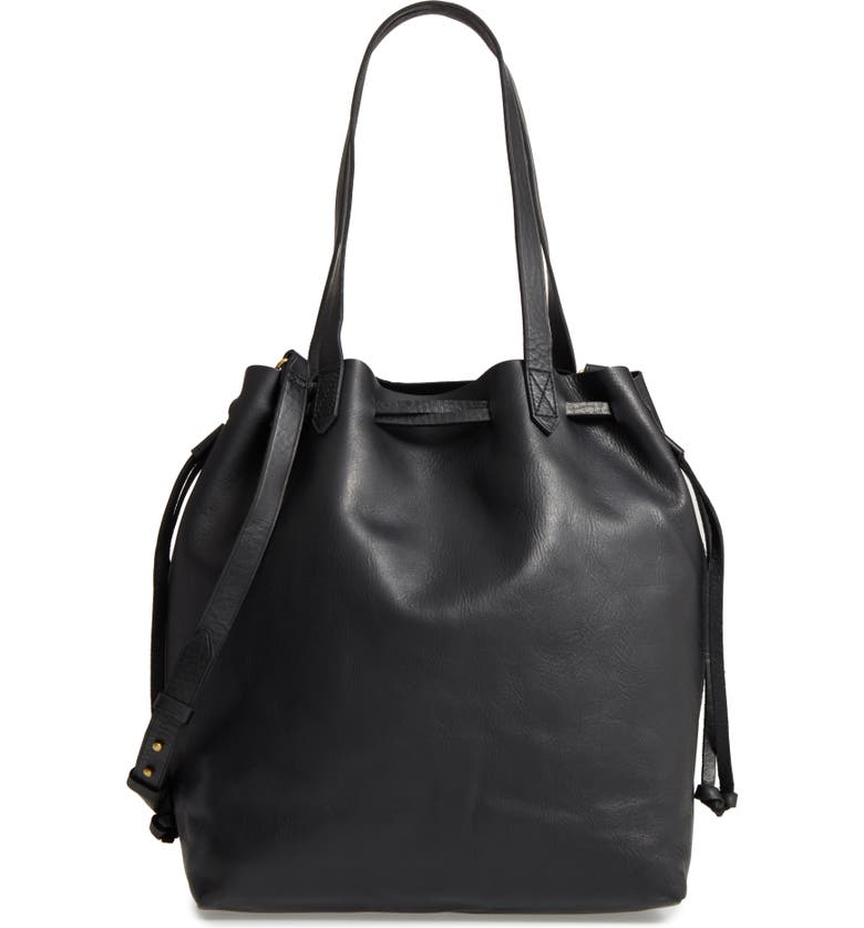 MADEWELL Medium Drawstring Transport Leather Tote, Main, color, 001