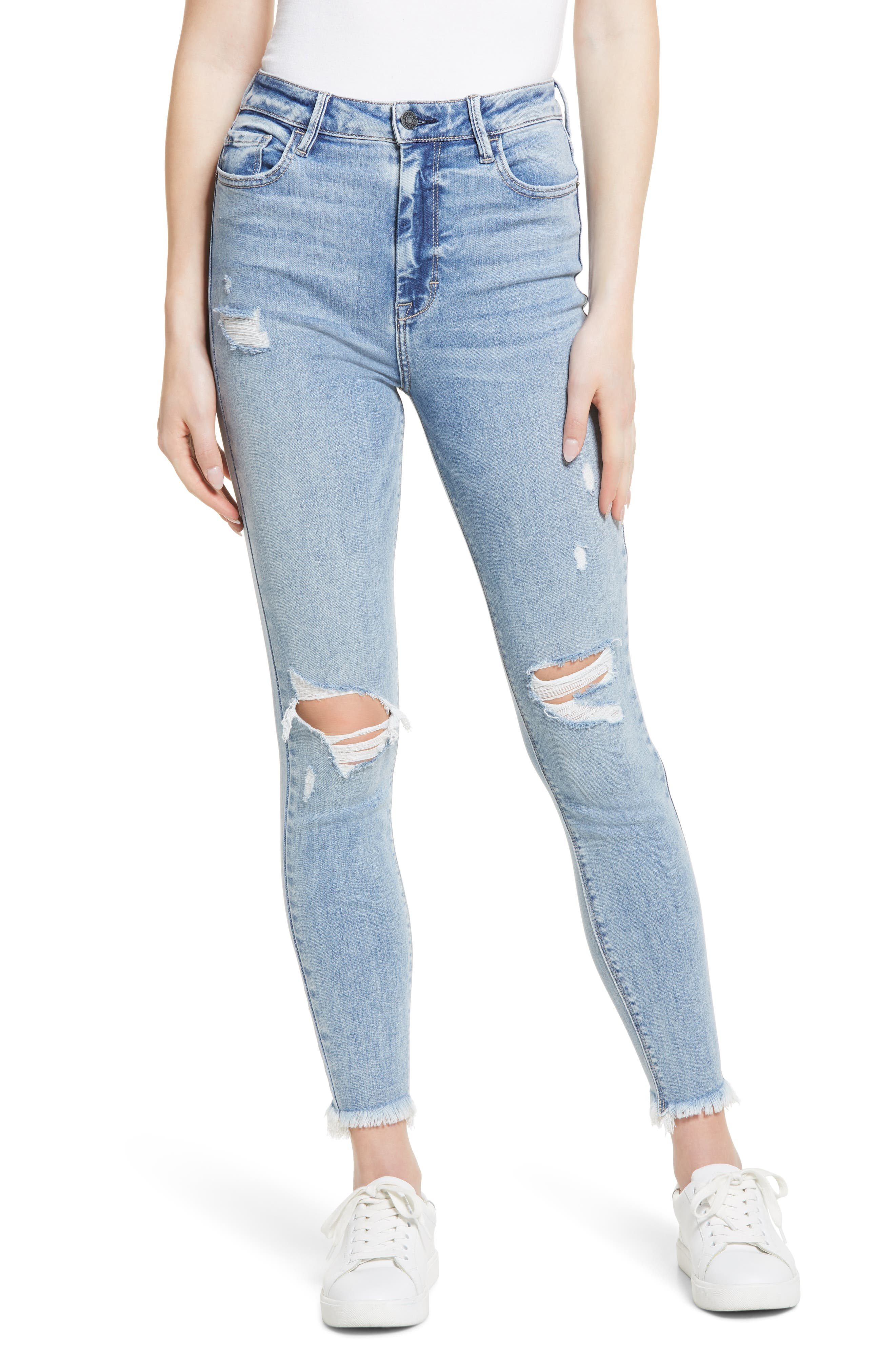 Distressed High Waist Ankle Skinny Jeans