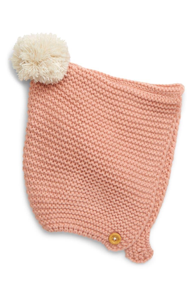 MINI BODEN Knit Bonnet, Main, color, CHALKY PINK