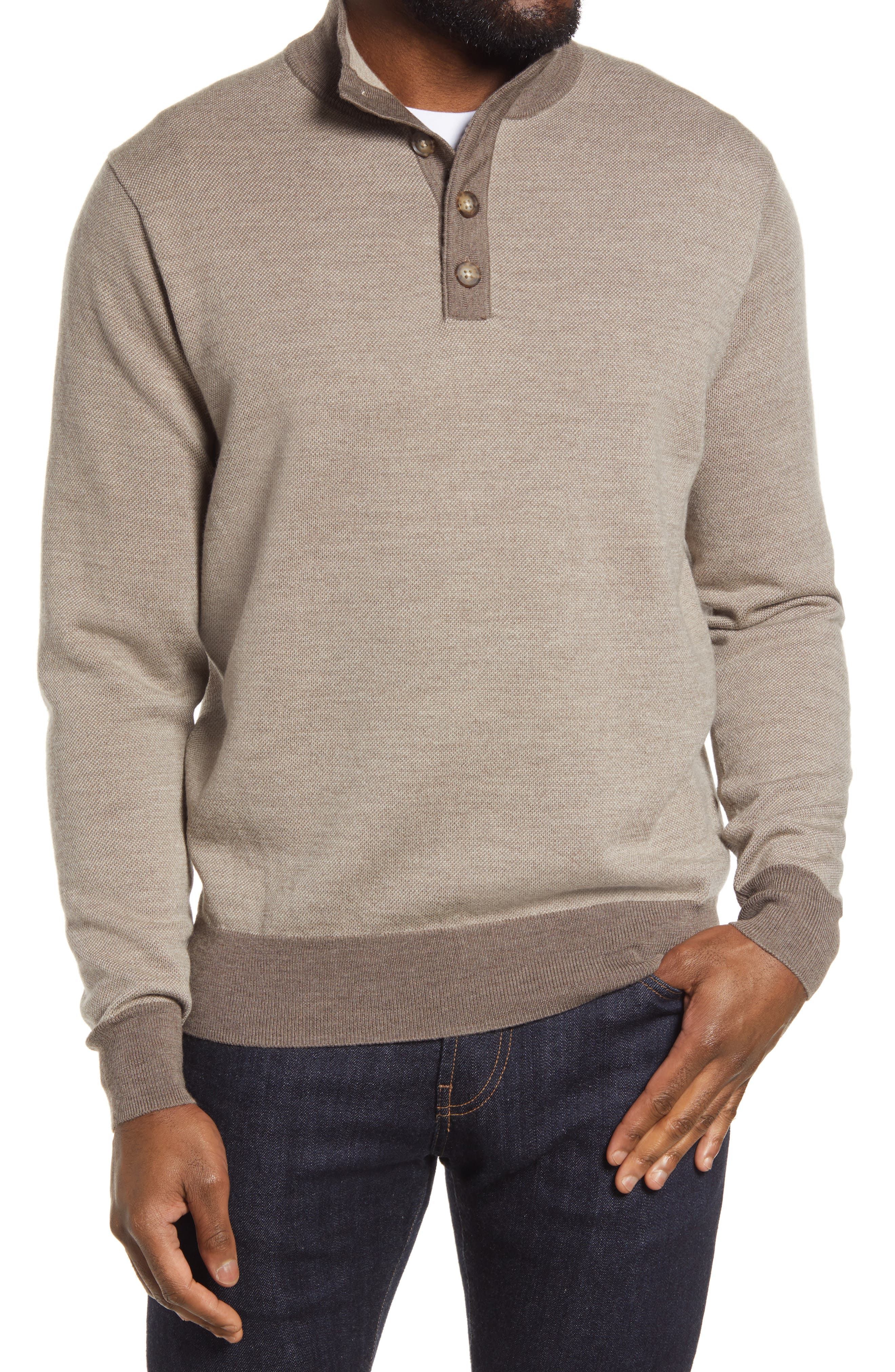 Enjoy the after-game festivities in the warm comfort of this soft merino wool pullover cut in a stylish silhouette. Style Name: Peter Millar Bird\\\'S Eye Wool Mock Neck Pullover. Style Number: 6113766. Available in stores.