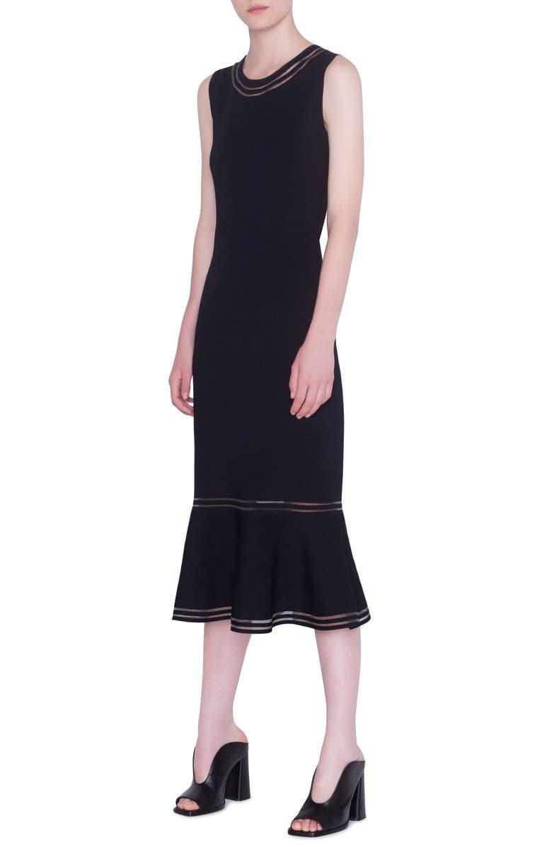 AKRIS PUNTO Illusion Stripe Sleeveless Midi Dress, Main, color, 001