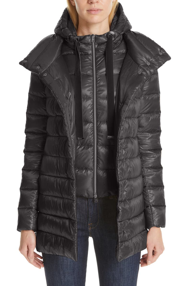 HERNO High/Low Quilted Down Puffer Coat with Removable Hooded Inset, Main, color, CHARCOAL