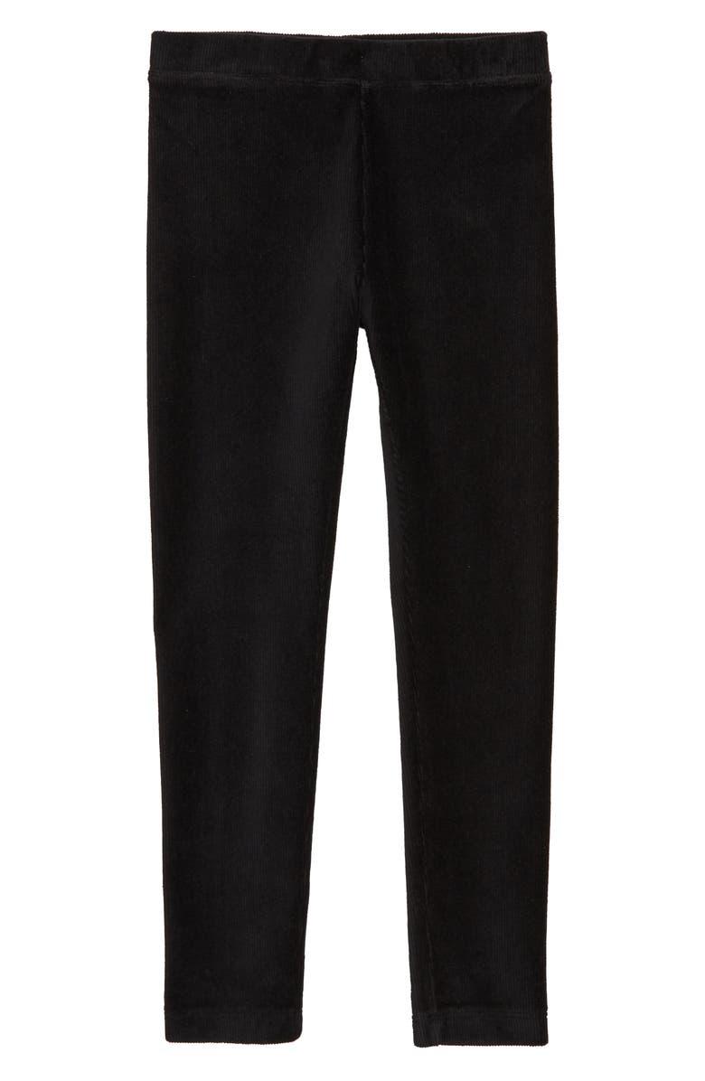 CREWCUTS BY J.CREW Stretch Cozy Cord Leggings, Main, color, BLACK