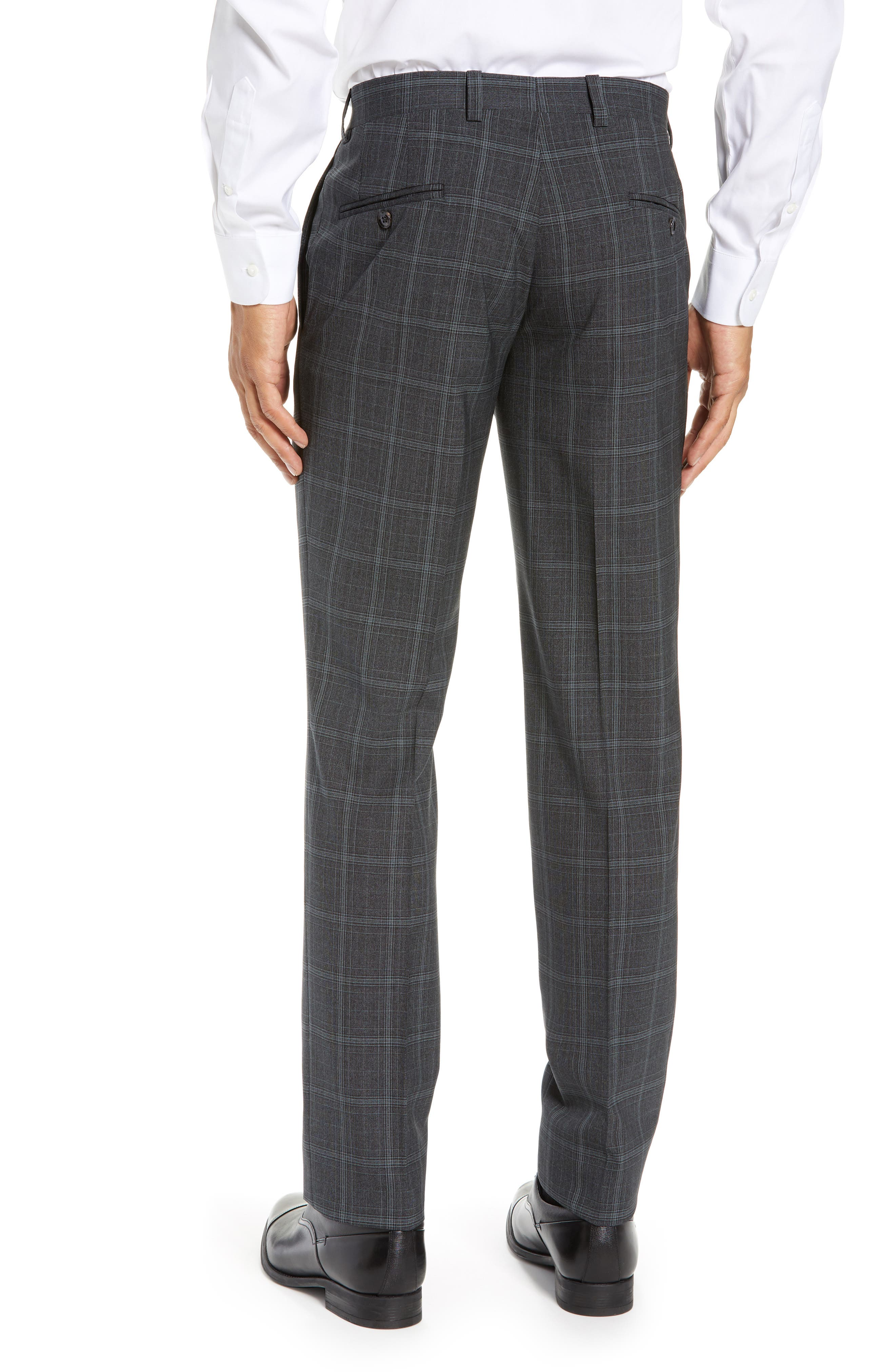 ,                             Reese Flat Front Plaid Wool Trousers,                             Alternate thumbnail 2, color,                             GREY