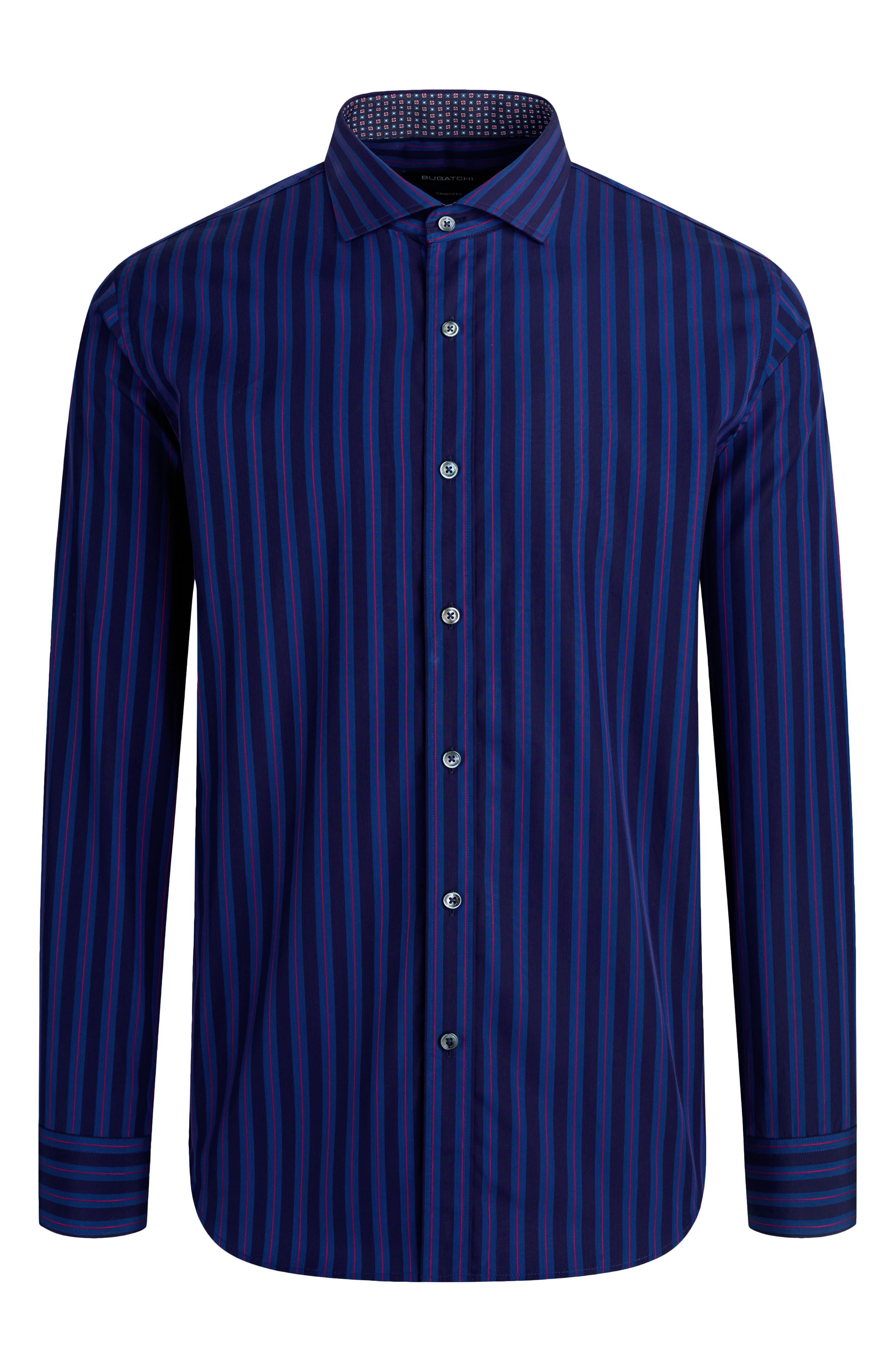 A handsome spread-collar shirt is shaped from soft Italian cotton in a cut that can be worn tucked or untucked. Style Name: Bugatchi Classic Fit Stripe Button-Up Shirt. Style Number: 6129634. Available in stores.