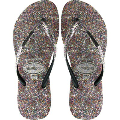 Havaianas Slim Glitter Flip Flop, 7/38 BR - Black