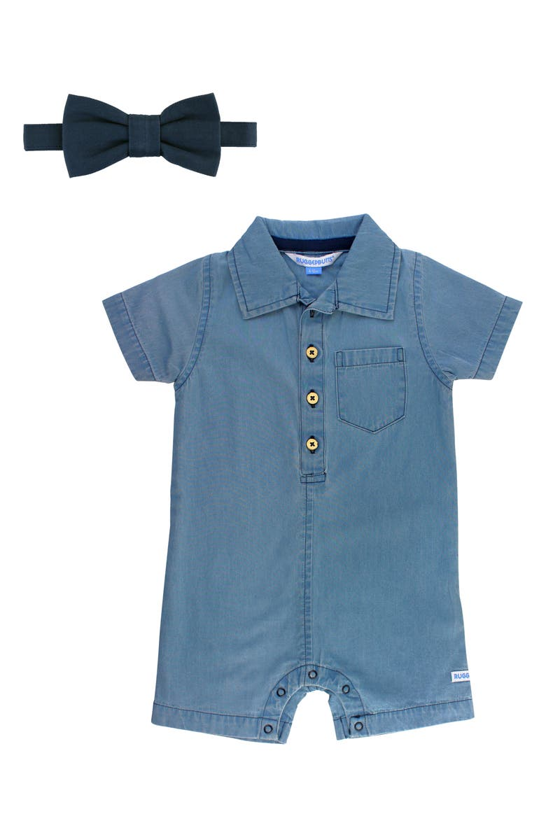 RUGGEDBUTTS Chambray Romper & Bow Tie Set, Main, color, 461