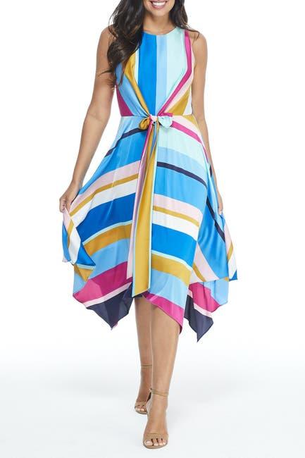 Image of Maggy London Jewel Neck Stripe Print Tie Front Handkerchief Hem Dress