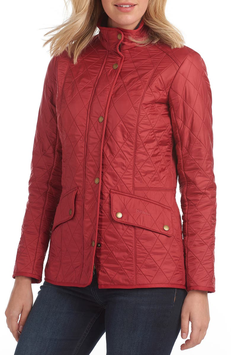 BARBOUR Cavalry Diamond Quilted Jacket, Main, color, DEEP CLARET