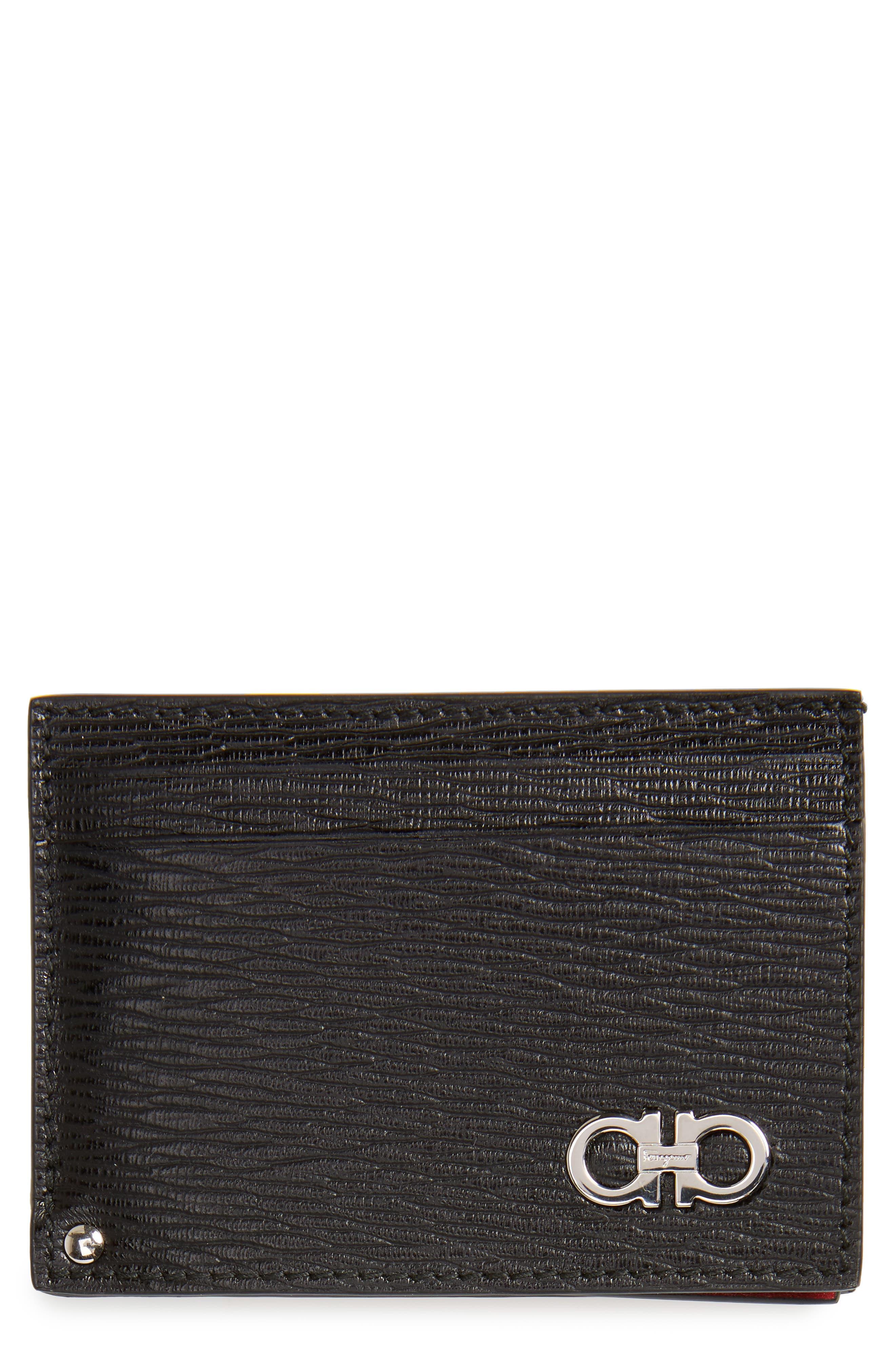 Men's Salvatore Ferragamo Revival Calfskin Leather Card Case - Black