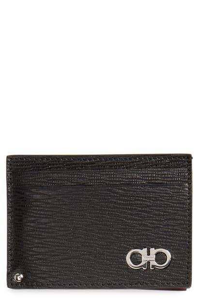 Salvatore Ferragamo Revival Calfskin Leather Card Case In Black