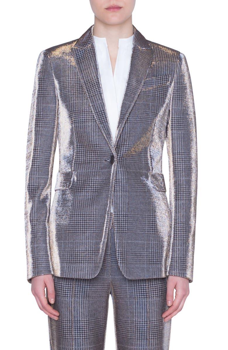 AKRIS PUNTO Metallic Glen Check Blazer, Main, color, CAMEL