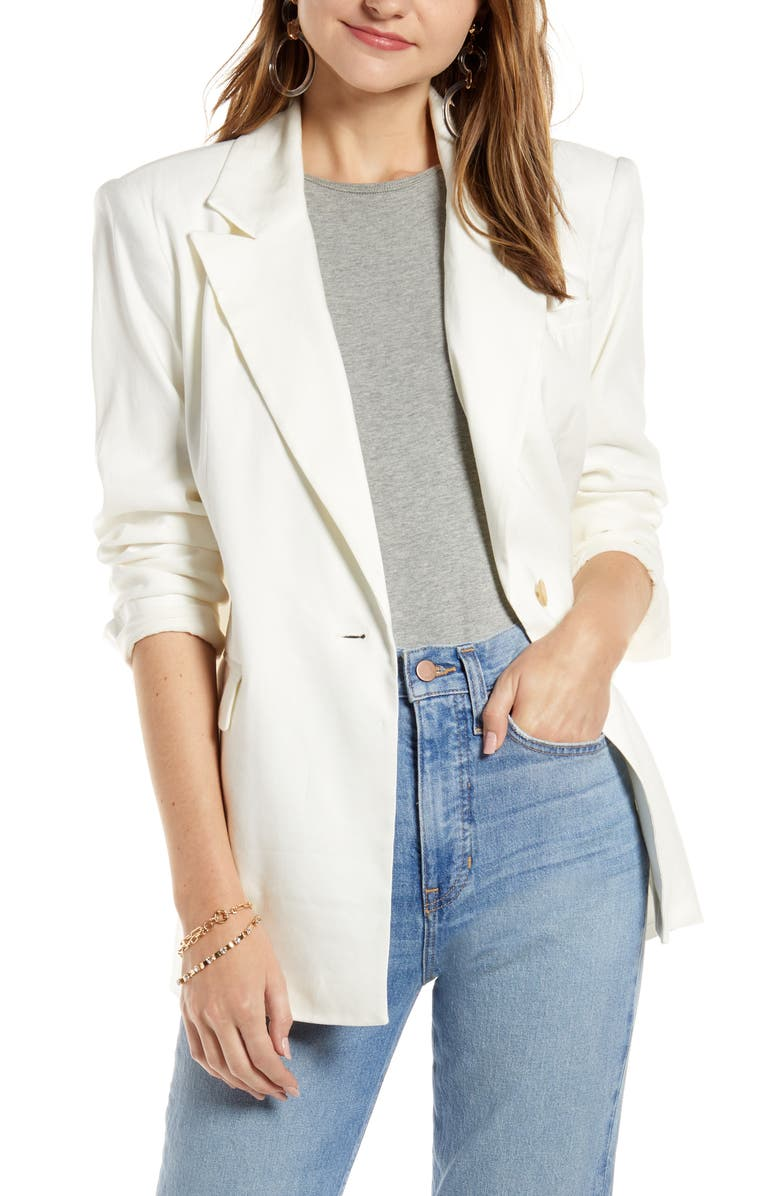 SOMETHING NAVY Oversize Linen Blend Blazer, Main, color, 900