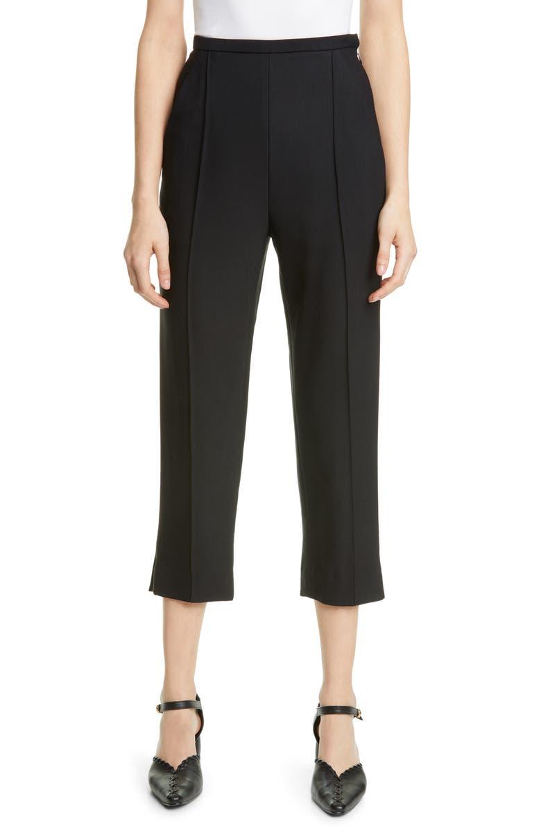 KHAITE Pintucked Crop Pants, Main, color, BLACK