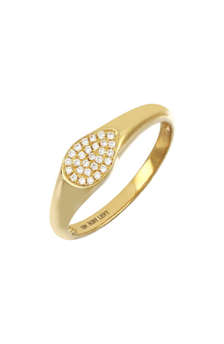 BONY LEVY Kiera Pear Signet Ring, Main, color, YELLOW GOLD/ DIAMOND