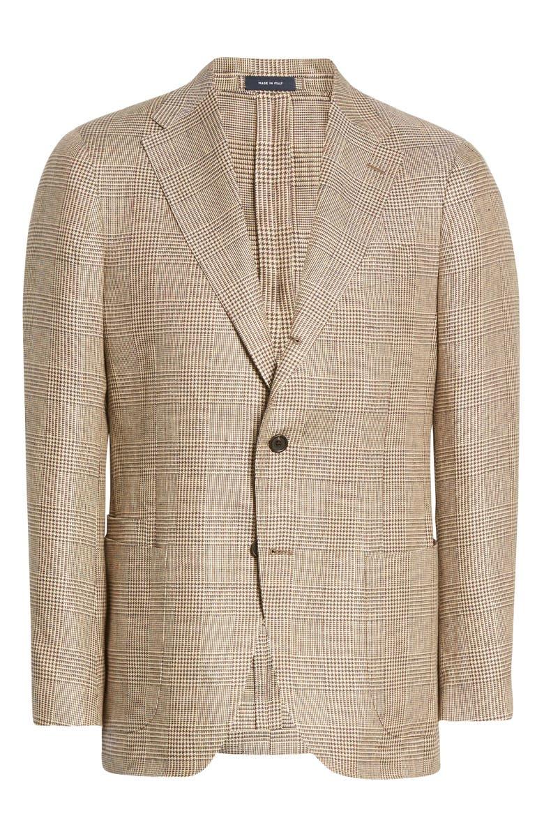 DRAKE'S Glen Check Linen Sport Coat, Main, color, 200