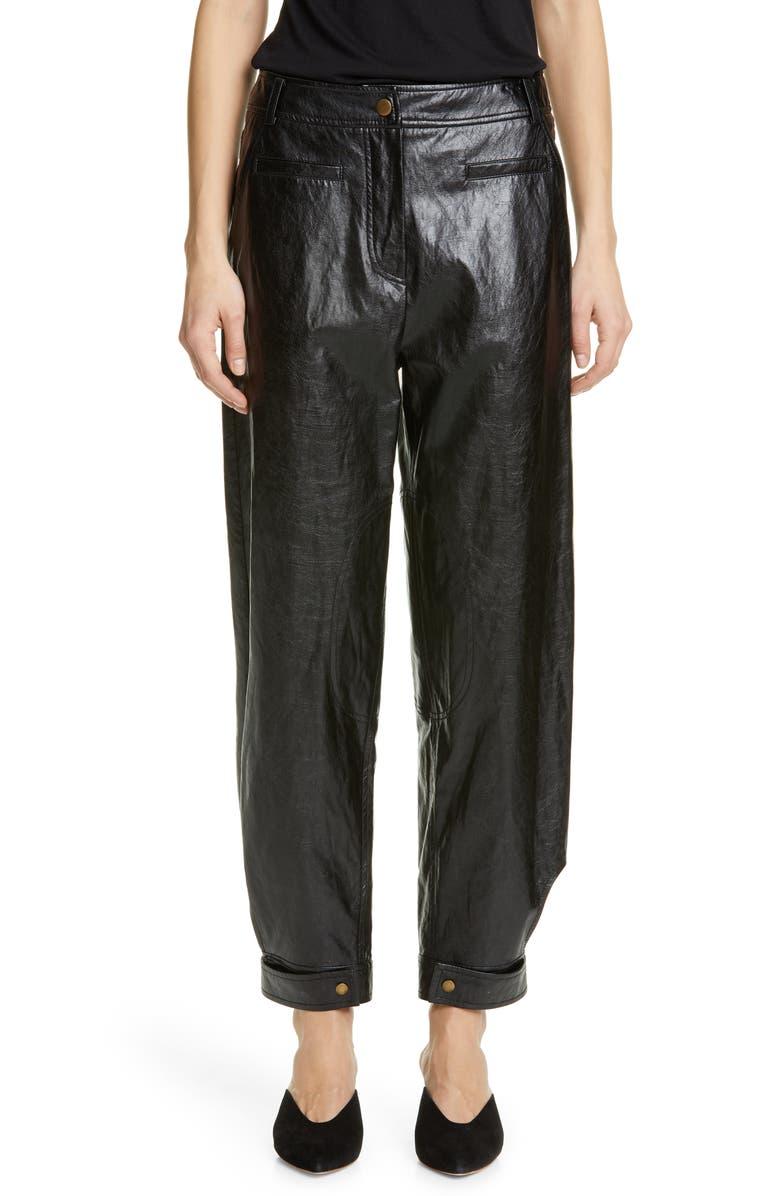 REJINA PYO Leon Faux Leather Trousers, Main, color, BLACK