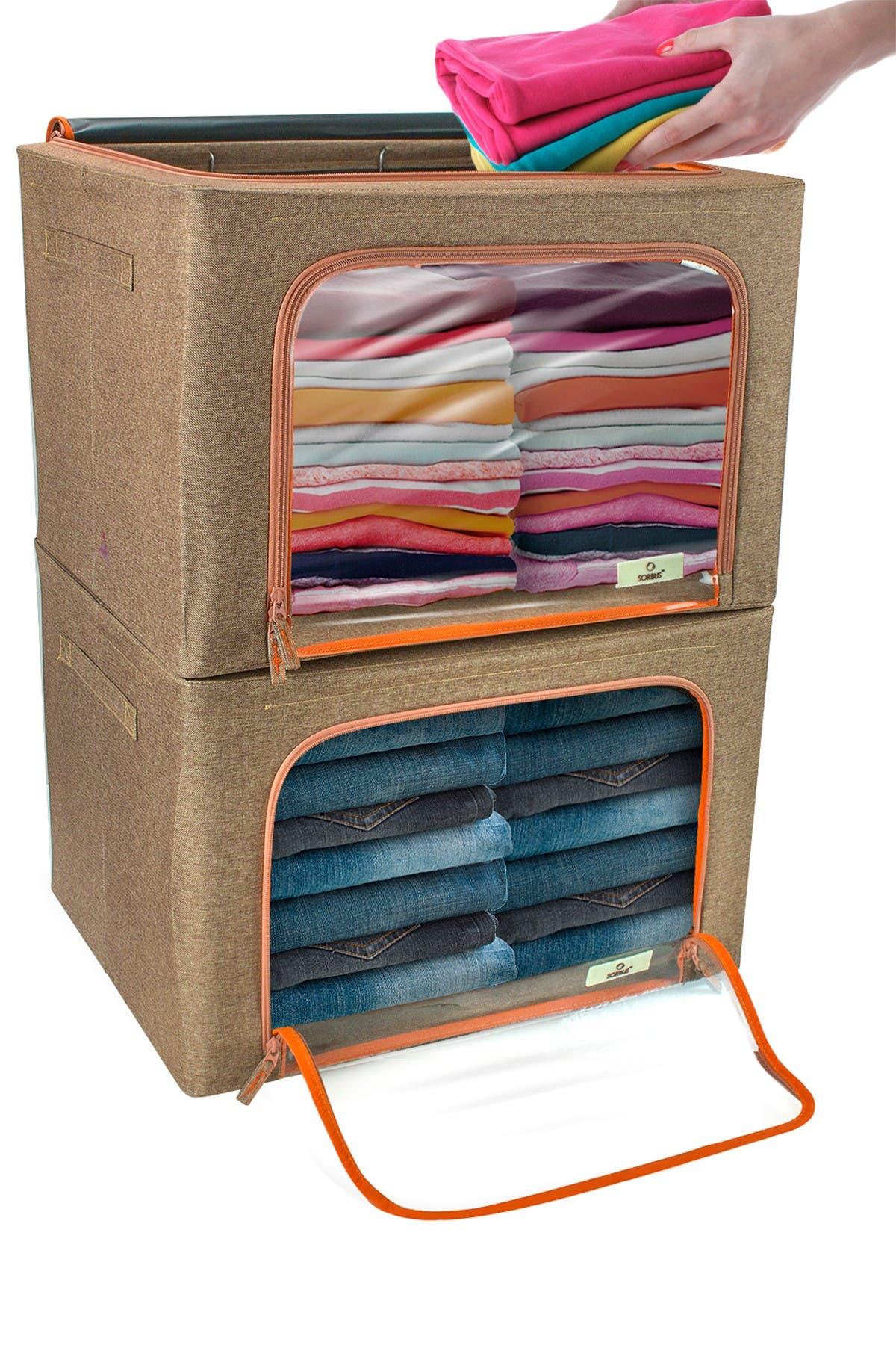 Image of Sorbus Brown Window Storage Box - Pack of 2