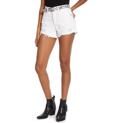Blanknyc The Barrow Belted Distressed Denim Shorts, White