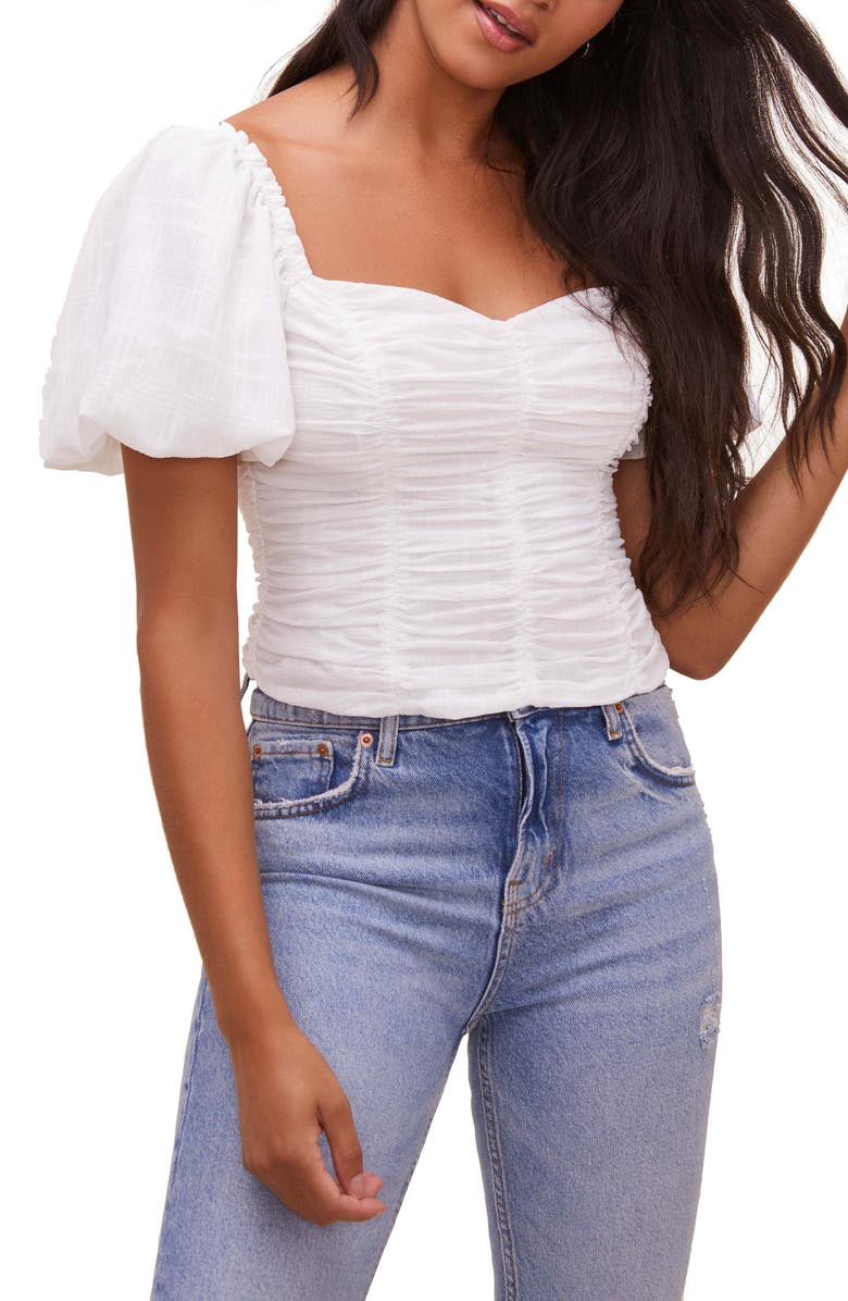 ASTR THE LABEL Tenley Puff Sleeve Top, Main, color, WHITE