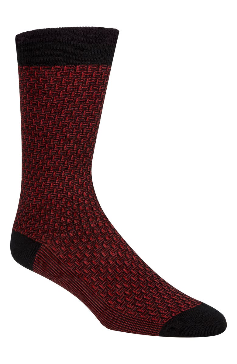 COLE HAAN Dog Bone Texture Crew Socks, Main, color, RED
