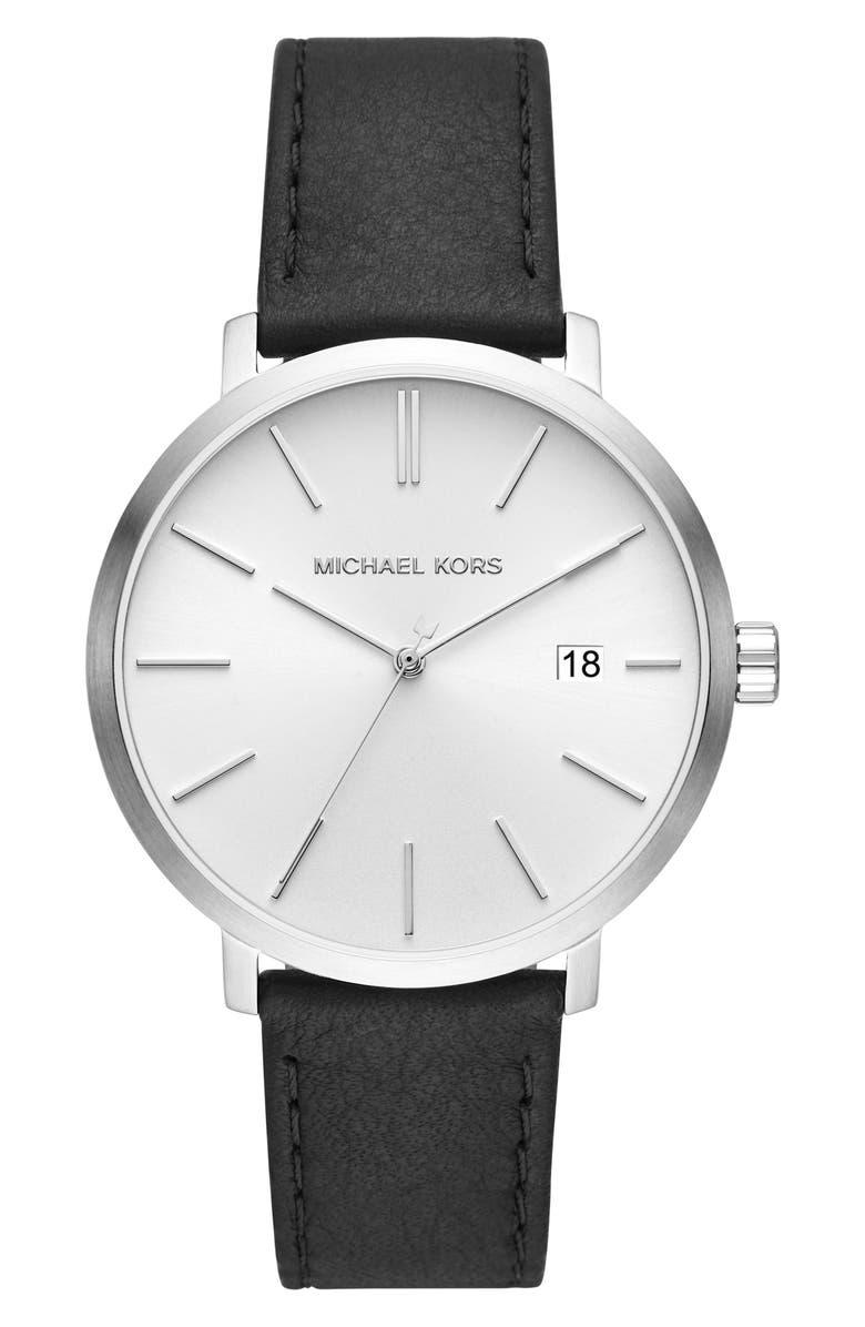 MICHAEL MICHAEL KORS Blake Leather Strap Watch, 42mm, Main, color, BLACK/ WHITE/ SILVER