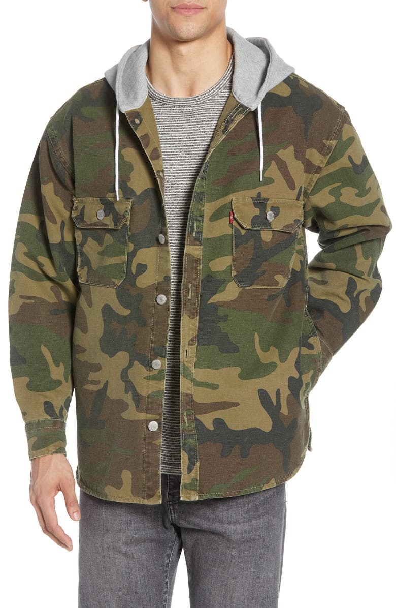 LEVI'S<SUP>®</SUP> Jackson Regular Fit Hooded Camo Overshirt, Main, color, PHALAROPE DEMITASSE