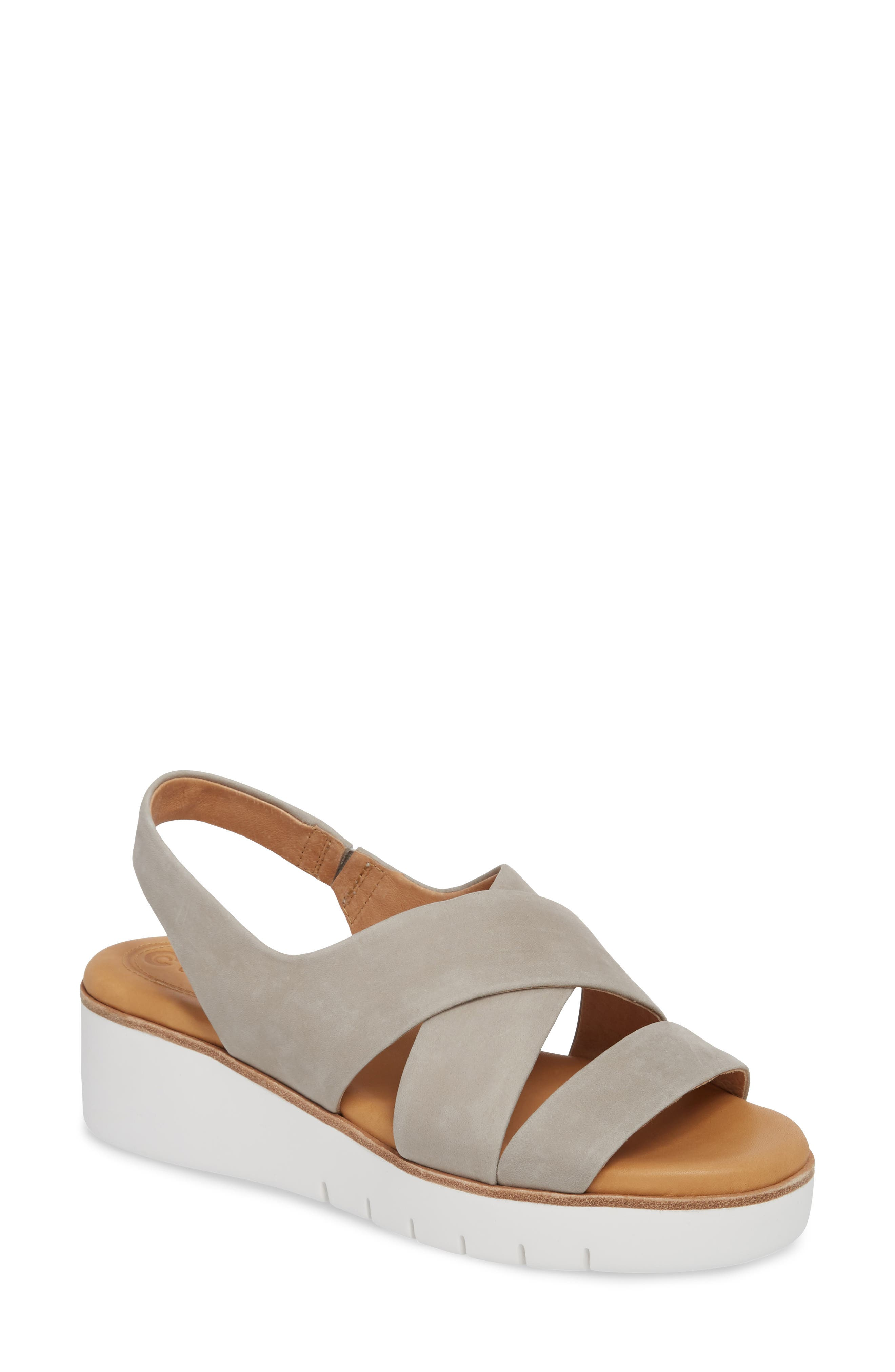 Brinney Wedge Sandal, Main, color, GREY LEATHER