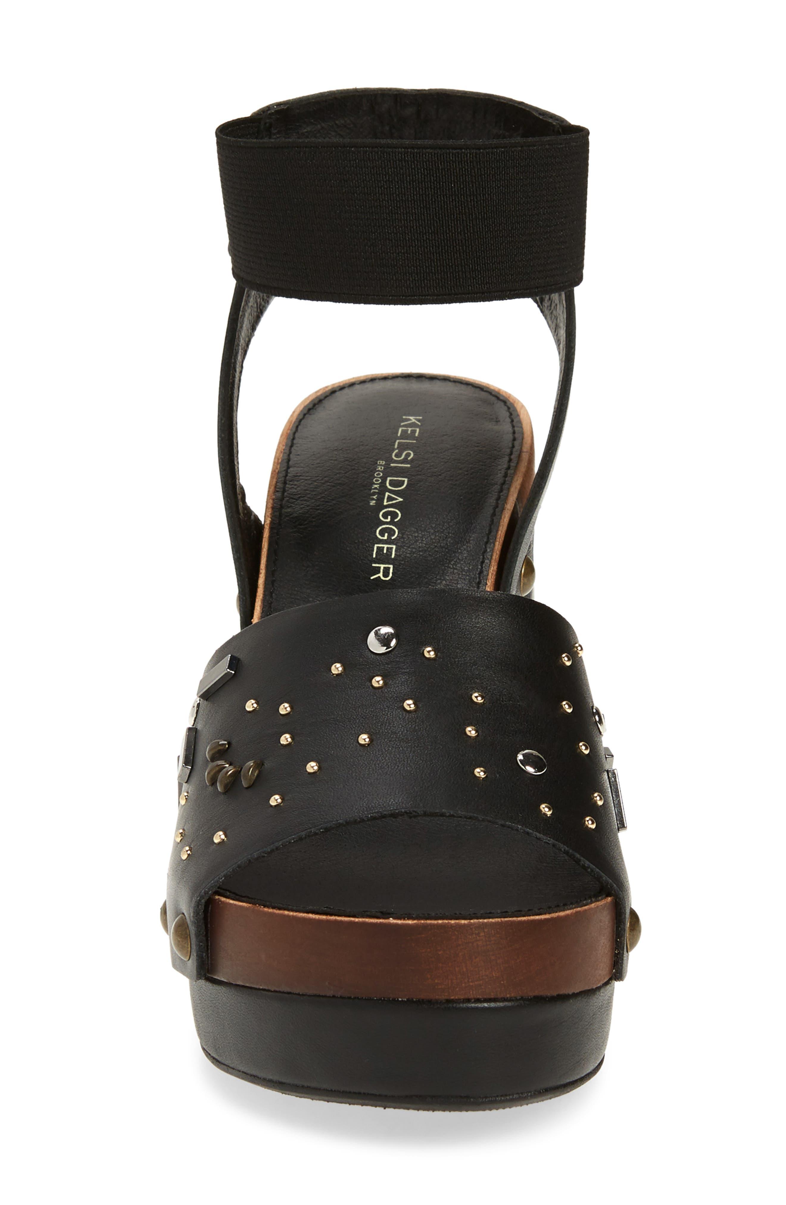 ,                             Frida Studded Platform Sandal,                             Alternate thumbnail 4, color,                             BLACK