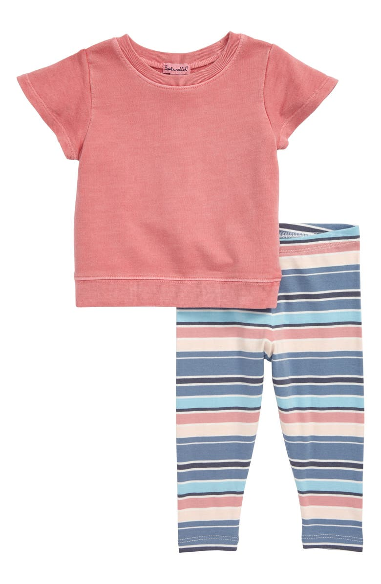 SPLENDID Sweatshirt & Stripe Leggings Set, Main, color, 660