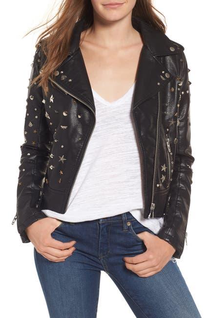 Image of BLANKNYC Denim Studded Faux Leather Moto Jacket