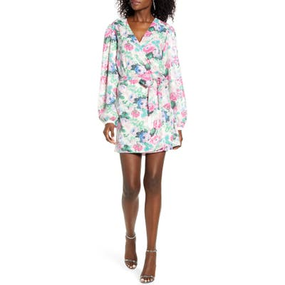 Wayf Loretta Floral Sequin Long Sleeve Wrap Dress, Pink