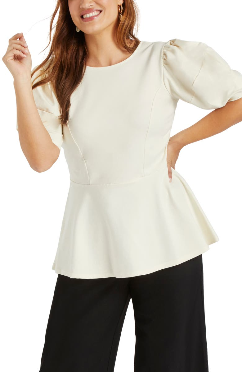 ELOQUII Puff Sleeve Peplum Top, Main, color, OFF WHITE