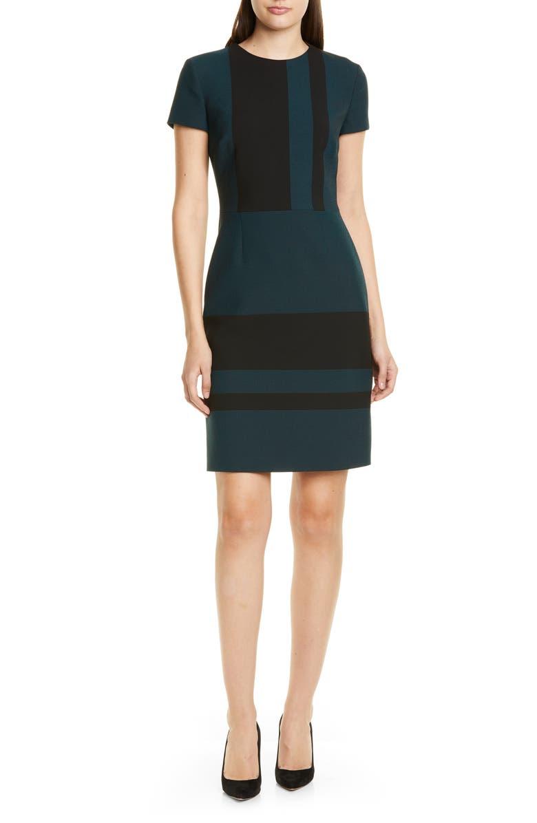 BOSS Dermely Structured Jersey Dress, Main, color, DARK EMERALD FANTASY