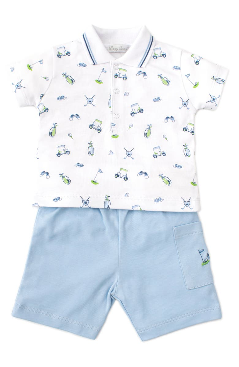 KISSY KISSY Double Bogey Golf Polo & Bermuda Shorts Set, Main, color, LIGHT BLUE