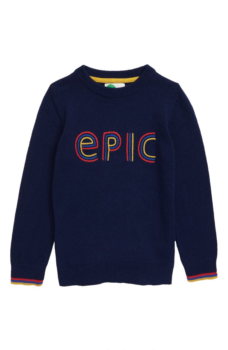 MINI BODEN Epic Graphic Crewneck Sweater, Main, color, COLLEGE BLUE