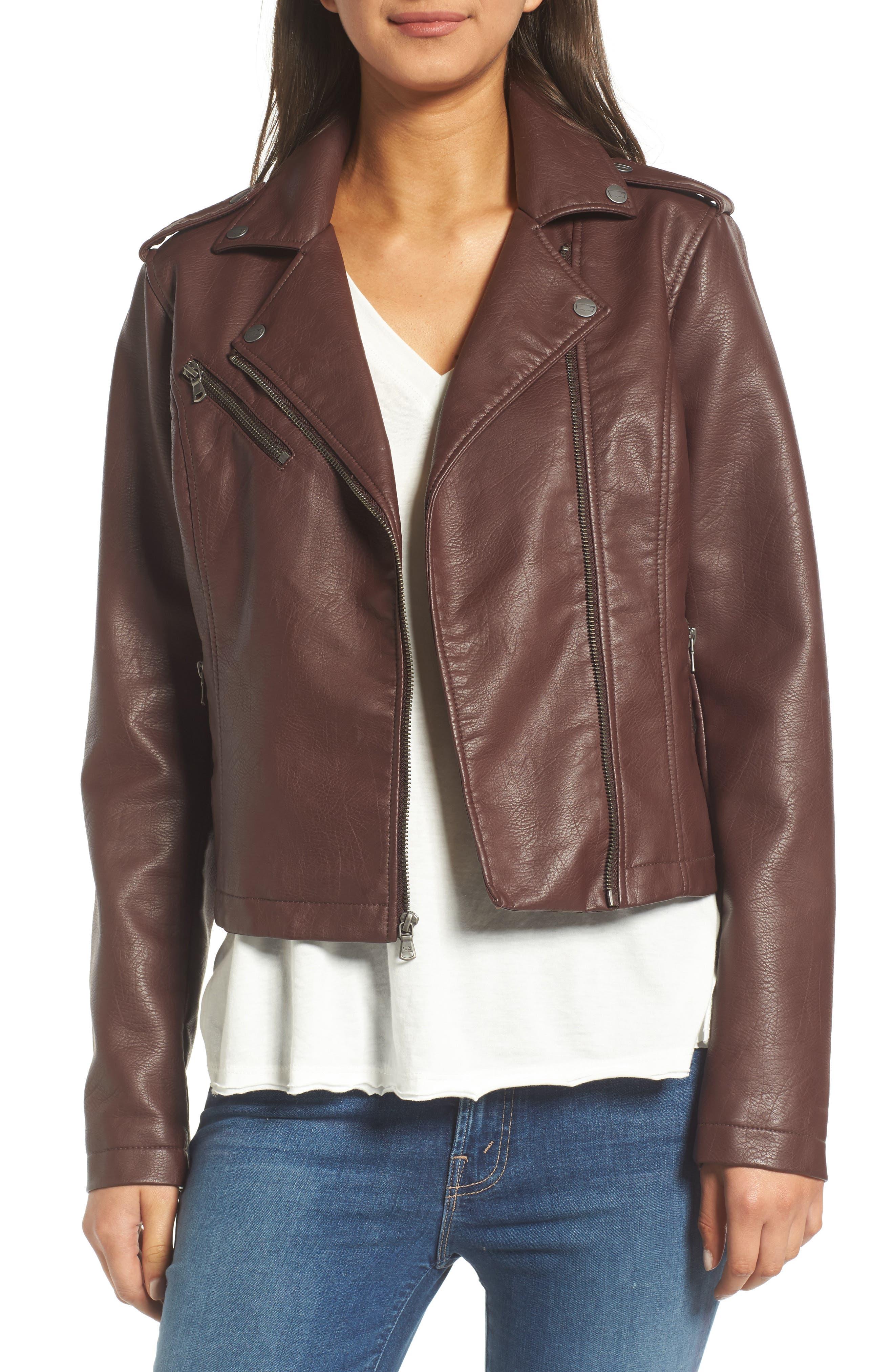 ,                             Faux Leather Moto Jacket,                             Main thumbnail 32, color,                             935