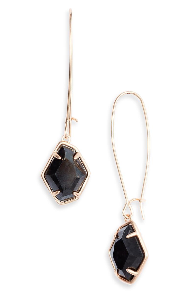 KENDRA SCOTT Ellington Drop Earrings, Main, color, ROSE GOLD/ BLACK GRANITE