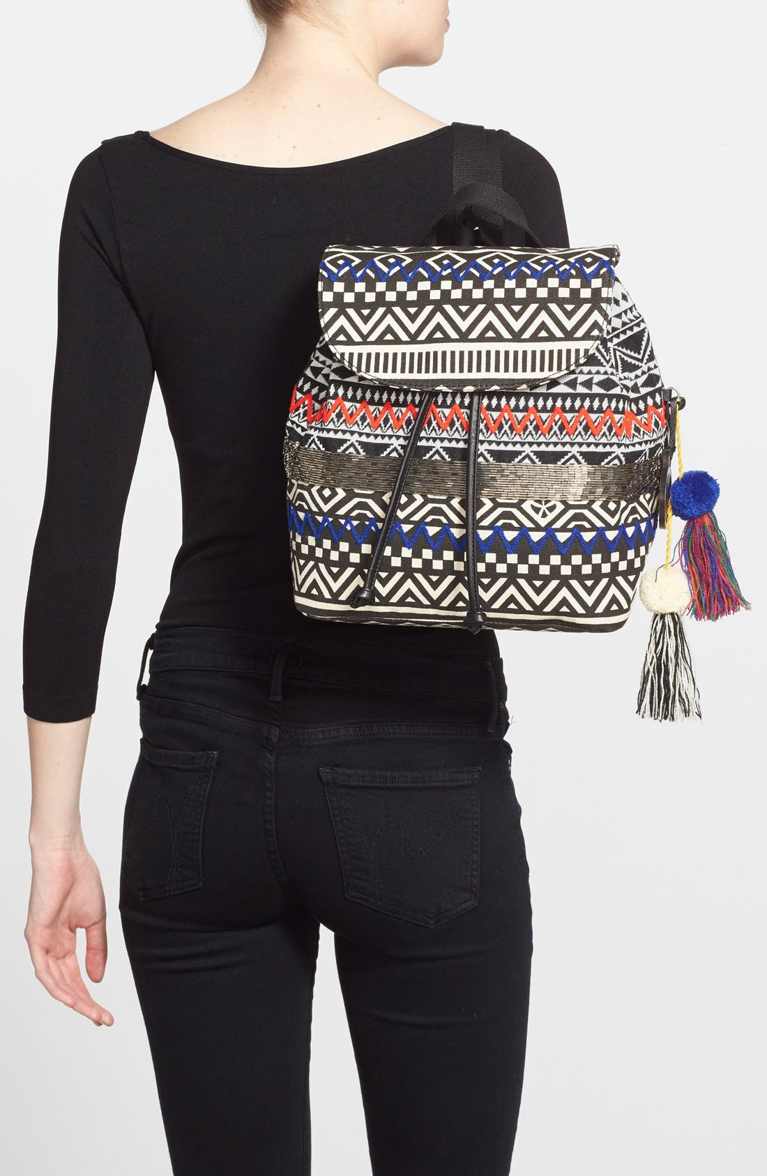 ,                             'Bella' Woven Backpack,                             Alternate thumbnail 4, color,                             001