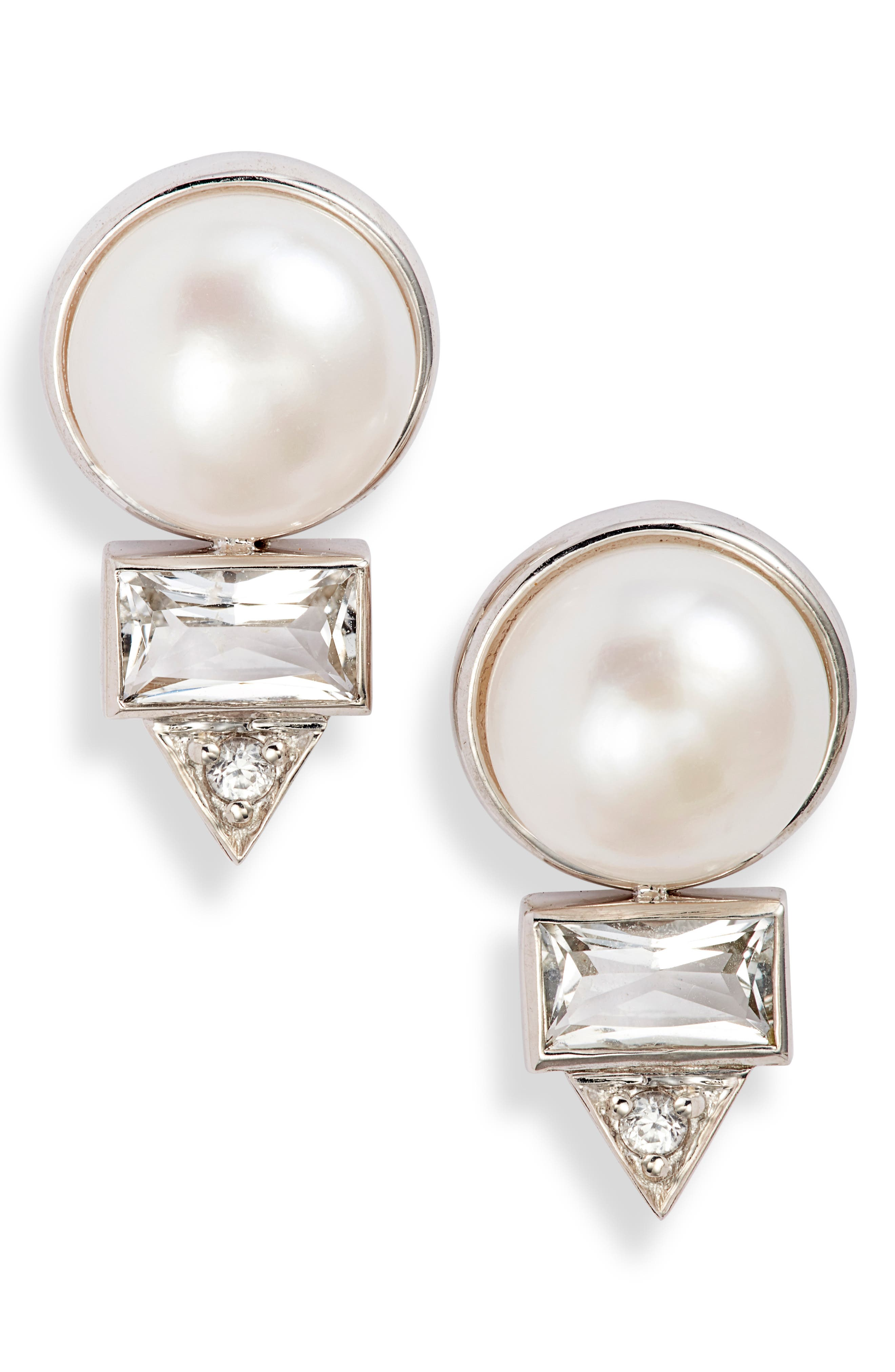 Cleo Baguette Topaz & Pearl Stud Earrings