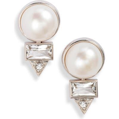 Anzie Cleo Baguette Topaz & Pearl Stud Earrings